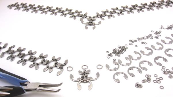 Trellis necklace in progress