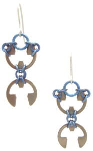 Scarab Earrings by Wraptillion (Heat Patina Collection)