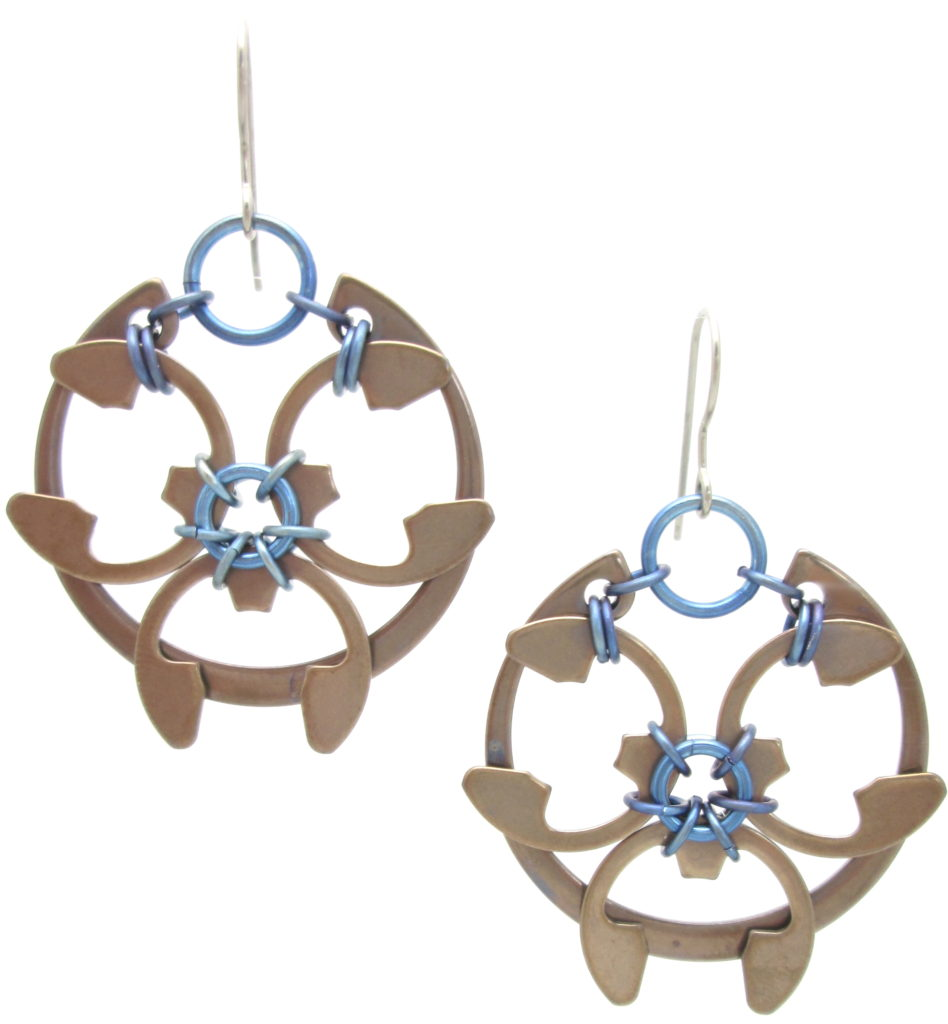 Rose Window Earrings by Wraptillion (Heat Patina Collection)