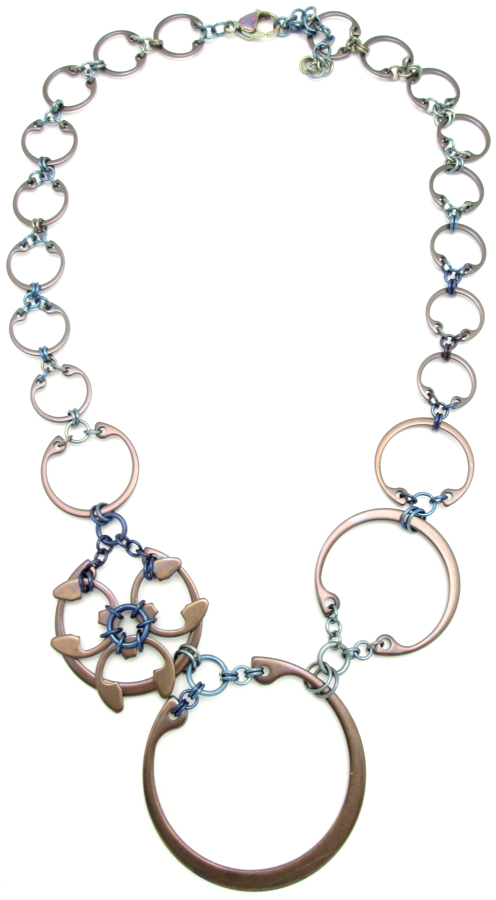 Rose Window Necklace by Wraptillion (Heat Patina Collection)