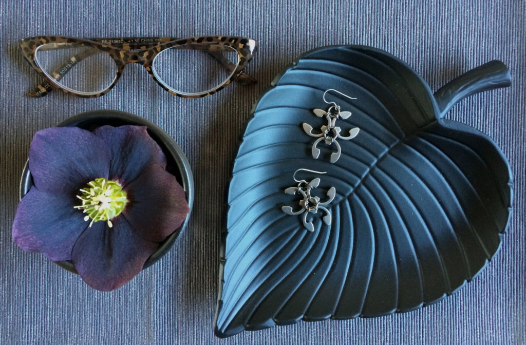 jewelry vignette with hellebore