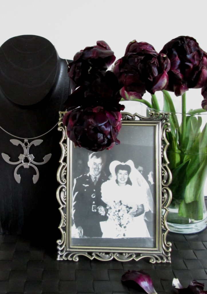 black peony tulips, my grandmother's wedding photo, & a bold pendant