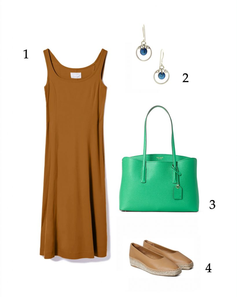 Easy summer outfit inspiration: caramel tank dress, navy earrings, green bag, tan espadrilles.