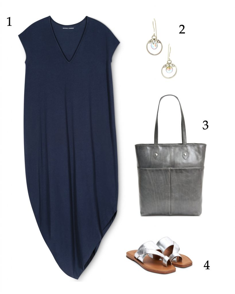 easy summer travel outfit, navy and silver and shimmer for the beach