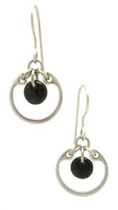 Small Circle Earrings by Wraptillion, in black, from the Industrial Glass collection