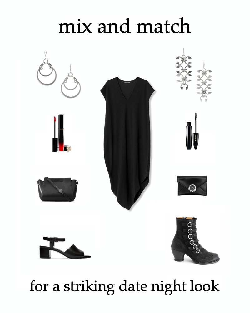 mix & match your style: sleek chic or Gothic boho outfit inspiration for a striking date night look