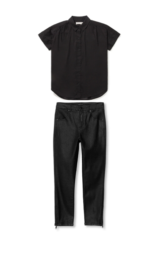 mix and match your style for a casual weekend look: take an all-black outfit from classic to edgy chic, with style ideas from Wraptillion (basics by Everlane and Universal Standard)