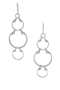 Large Alternating Earrings by Wraptillion: airy, lightweight modern industrial linked circle statement earrings