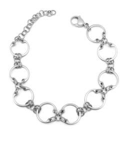 Baseline CXC Bracelet by Wraptillion (silver-tone modern linked circles bracelet)