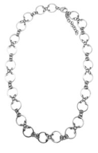 Baseline CXC Necklace by Wraptillion (silver-tone linked circle modern chain necklace)