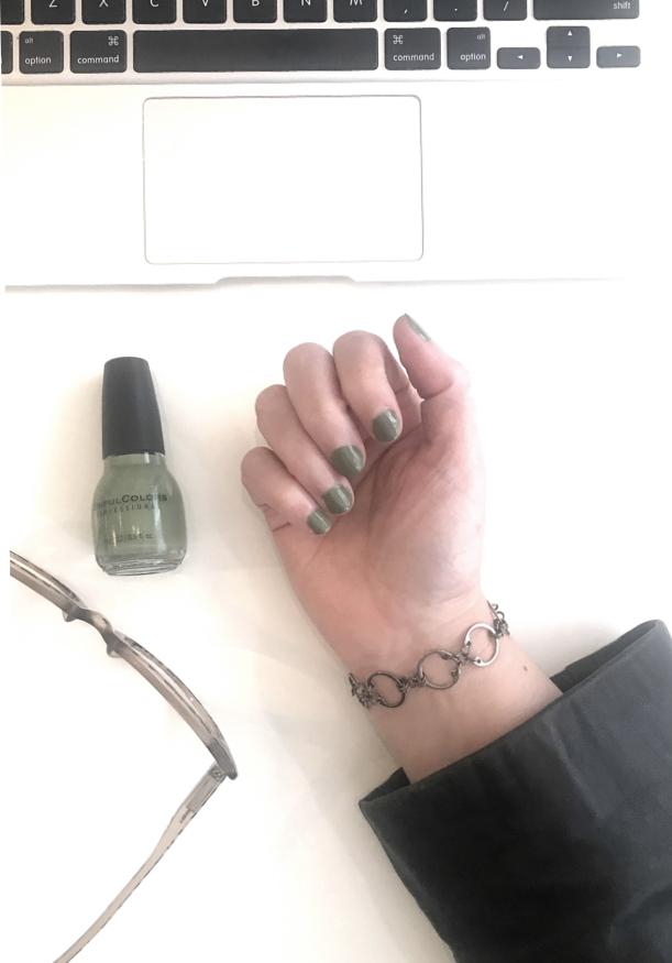 Baseline CXC Bracelet by Wraptillion, with olive green nail polish Sinful Colors Beau Khaki short nails (studio snapshot)