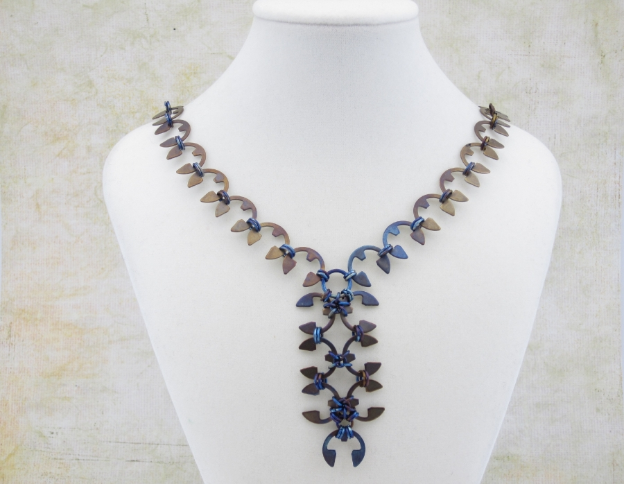 wisteria necklace with heat patina
