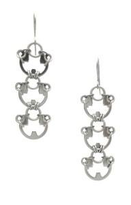 Photo of Wraptillion's Lotus Earrings (intricate floral-inspired modern chainmail dangle earrings in silver tone)