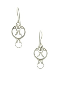 Photo of the Overlaid Earrings by Wraptillion (small modern silver-tone linked circles dangles.)