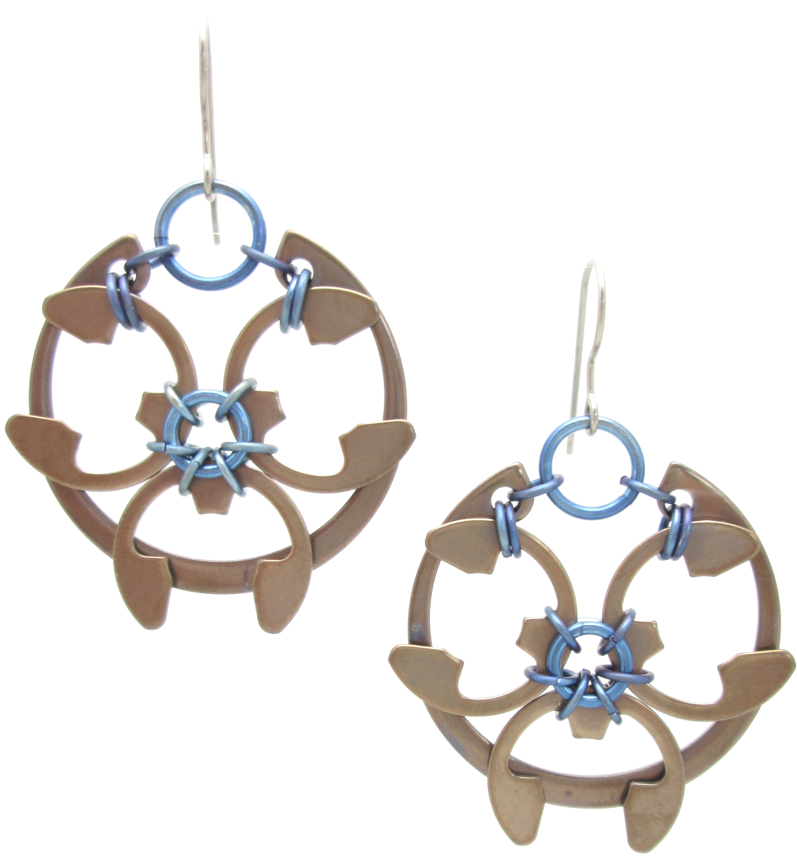 Rose Window Earrings By Wraptillion Heat Patina Collection