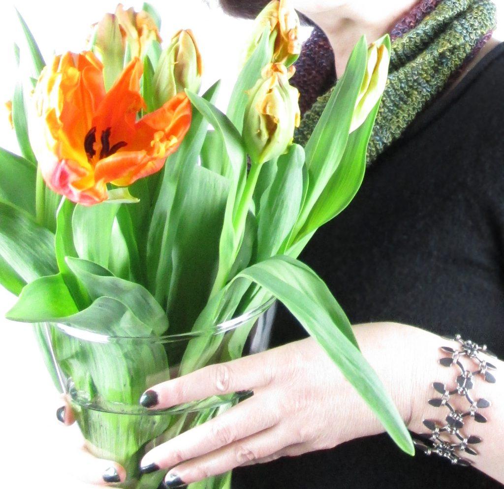 trellis bracelet by wraptillion (and the first orange tulips of the season!)