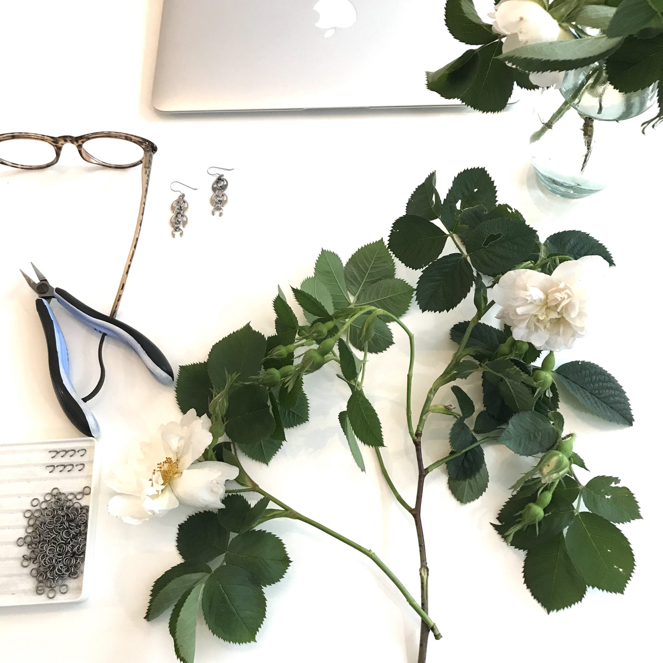 Rosa alba 'Semi-plena' on a desk with laptop, reading glasses, pliers, chainmail rings, and Wraptillion's Long Fuchsia Earrings.