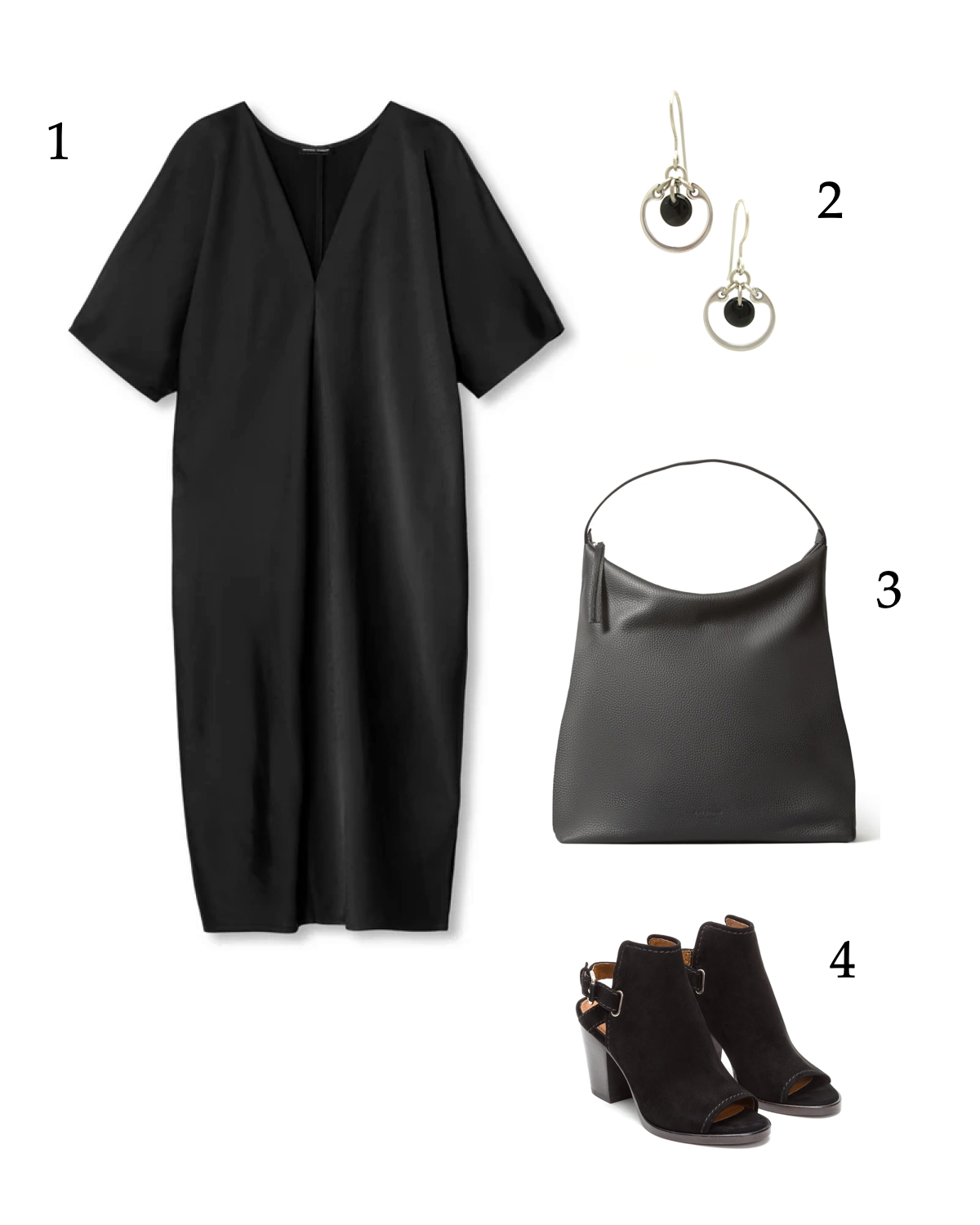 all-black outfit inspiration for summer that's classic but cool, with an easy summer dress, simple earrings, and classic accessories