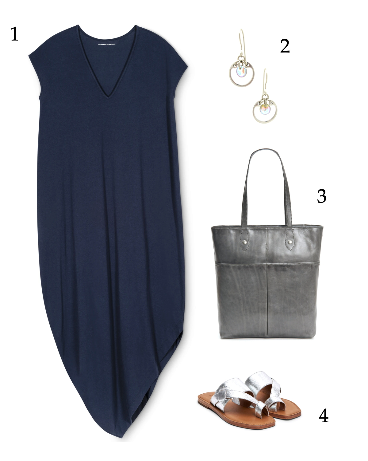 Summer outfit inspiration: an asymmetrical navy dress with silver accessories and simple classic earrings.