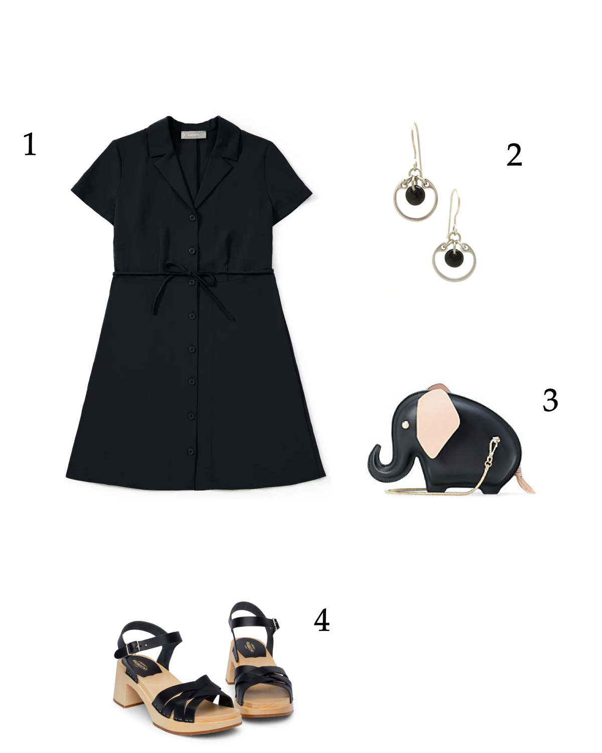 Summer black outfit idea for a fun lunch with friends: black dress, classic black earrings, black clog sandals, and a Kate Spade elephant bag.