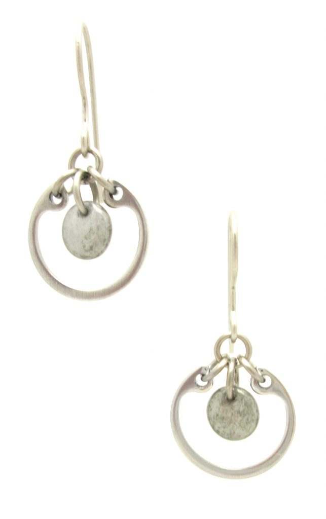 photo of Wraptillion's Small Circle Earrings in gray, a modern dangle silver-tone earring with french hooks and grey Czech glass beads