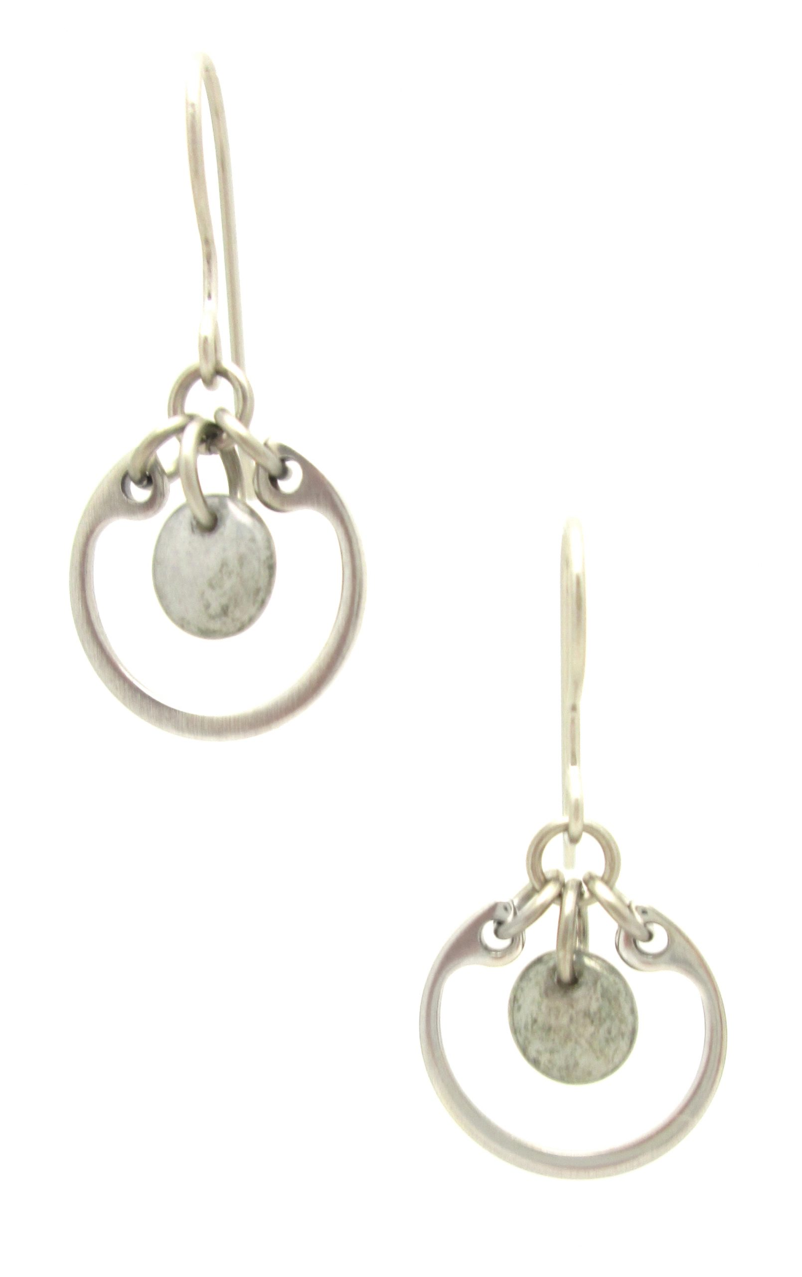 photo of Wraptillion's Small Circle Earrings in gray, a modern dangle silver-tone earring with french hooks