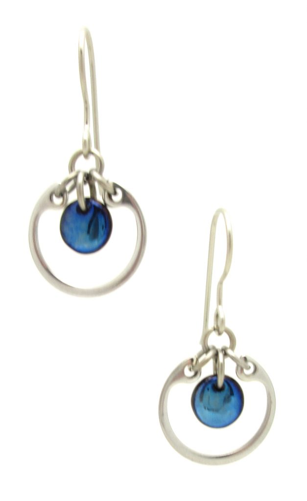 Wraptillion's modern silver-tone small circle earrings in navy blue