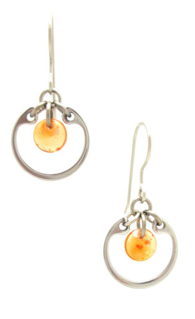 Wraptillion's modern small circle earrings in orange