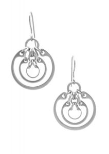 Photo of the Small Concentric Ring Earrings by Wraptillion (modern geometric nested circles silver-tone earrings.)
