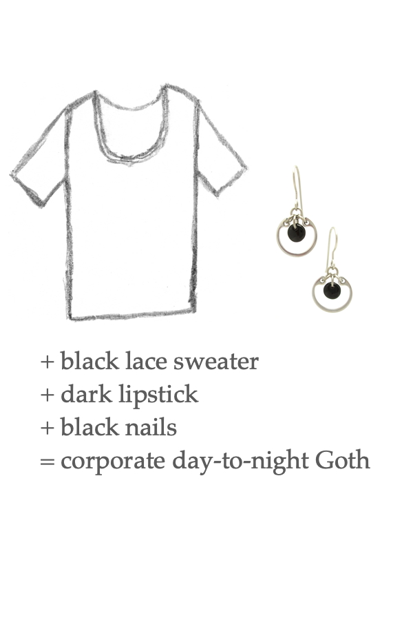 Style sketch of a tee shirt with Wraptillion's small modern silver-toned circle earrings in black; text on image reads: + black lace sweater + dark lipstick + black nails = corporate day-to-night Goth