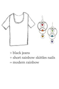 Outfit sketch featuring a white tee and Wraptillion's Cascading Rainbows Earrings. Text on image reads: + black jeans + short rainbow skittles nails = modern rainbow
