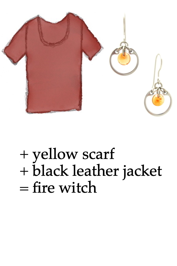 outfit inspiration style sketch of a red tee shirt with Wraptillion's small modern circle silver-tone earrings in orange; text on image reads: + yellow scarf + black leather jacket = fire witch