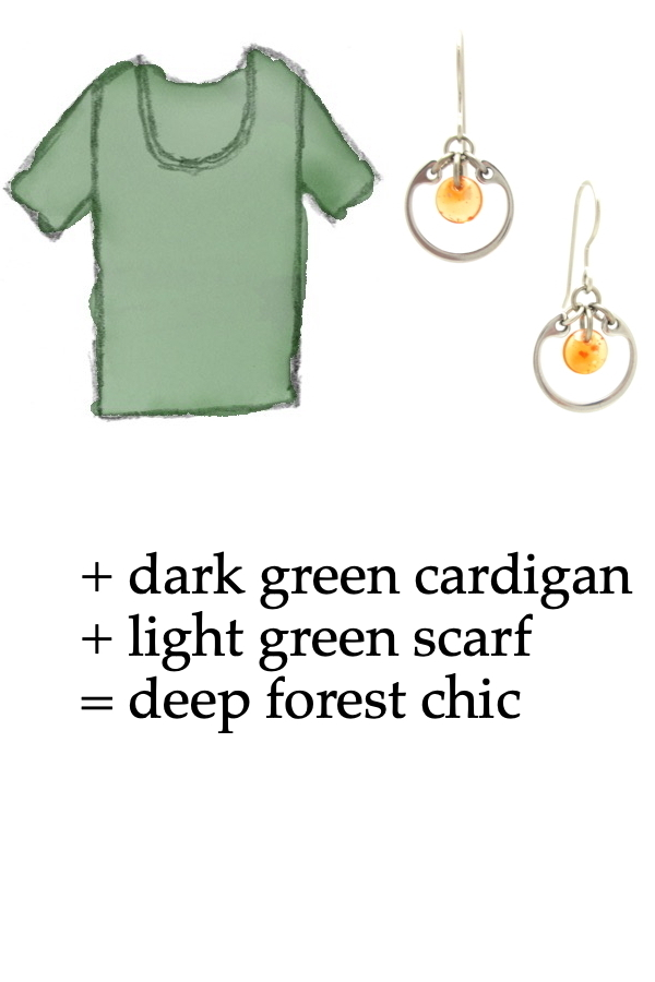 outfit inspiration style sketch of a green tee shirt with Wraptillion's small modern circle silver-toned earrings in orange; text on image reads: + dark gren cardigan + light green scarf = deep forest chic