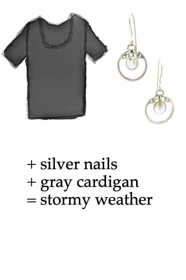outfit inspiration style sketch of a black tee shirt with Wraptillion's small modern circle earrings in pale rainbow; text on image reads: + silver nails + gray cardigan = stormy weather