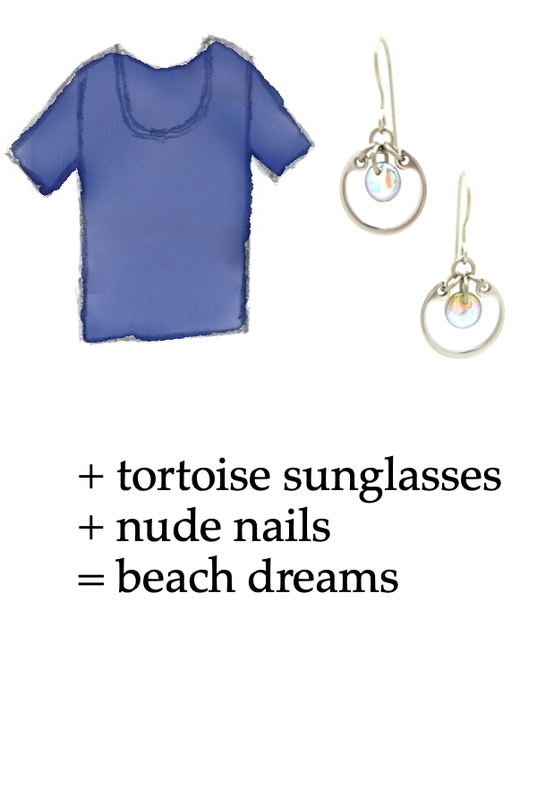 outfit inspiration style sketch of a blue tee shirt with Wraptillion's small modern circle silver-tone earrings in pale rainbow; text on image reads: + tortoise sunglasses + nude nails = beach dreams