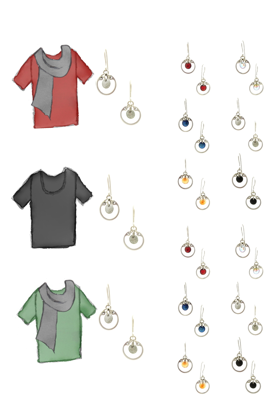 3 style sketches: a red tee with gray scarf, black tee, & green tee with grey scarf, with Wraptillion's small circle earrings in black, red, navy blue, orange, gray, and pale rainbow