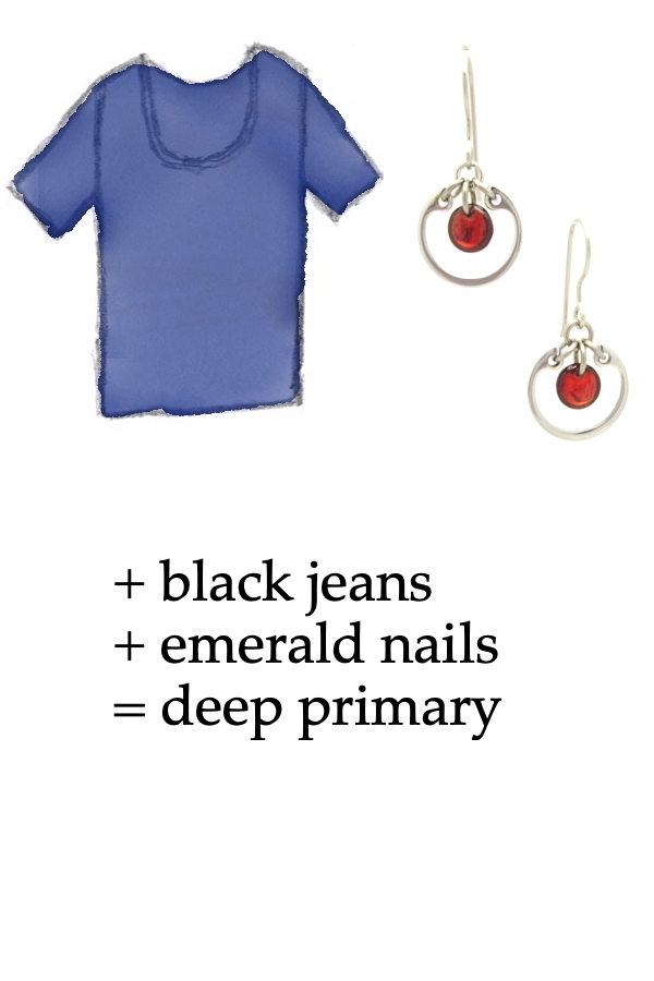 outfit inspiration style sketch of a blue tee shirt with Wraptillion's small modern circle silver-tone earrings in red; text on image reads: + black jeans + emerald nails = deep primary