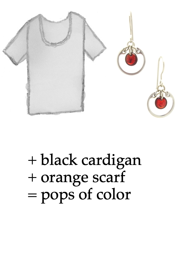 outfit inspiration style sketch of a gray tee shirt with Wraptillion's small modern circle silver-tone earrings in red; text on image reads: + black cardigan + orange scarf = pops of color