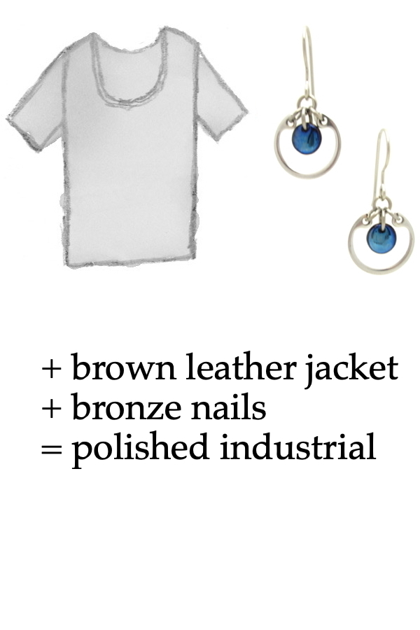 outfit inspiration style sketch of a gray tee shirt with Wraptillion's small modern circle silver-tone earrings in navy blue; text on image reads: + brown leather jacket + bronze nails = polished industrial