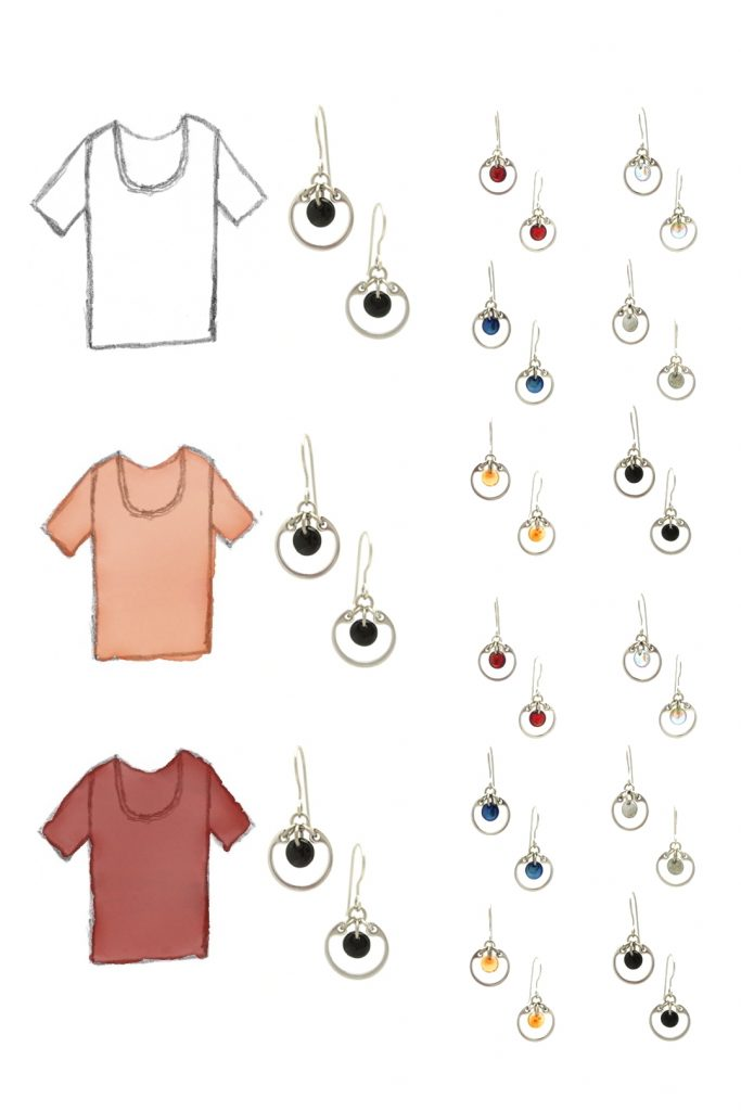 style sketches of 3 tees in white, orange, and red, with Wraptillion's small circle earrings in black, red, navy blue, orange, gray, and pale rainbow