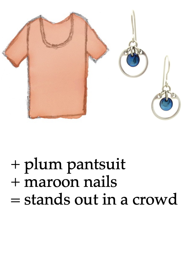 outfit inspiration style sketch of an orange tee shirt with Wraptillion's small modern circle silver-tone earrings in navy blue; text on image reads: + plum pantsuit + maroon nails = stands out in a crowd