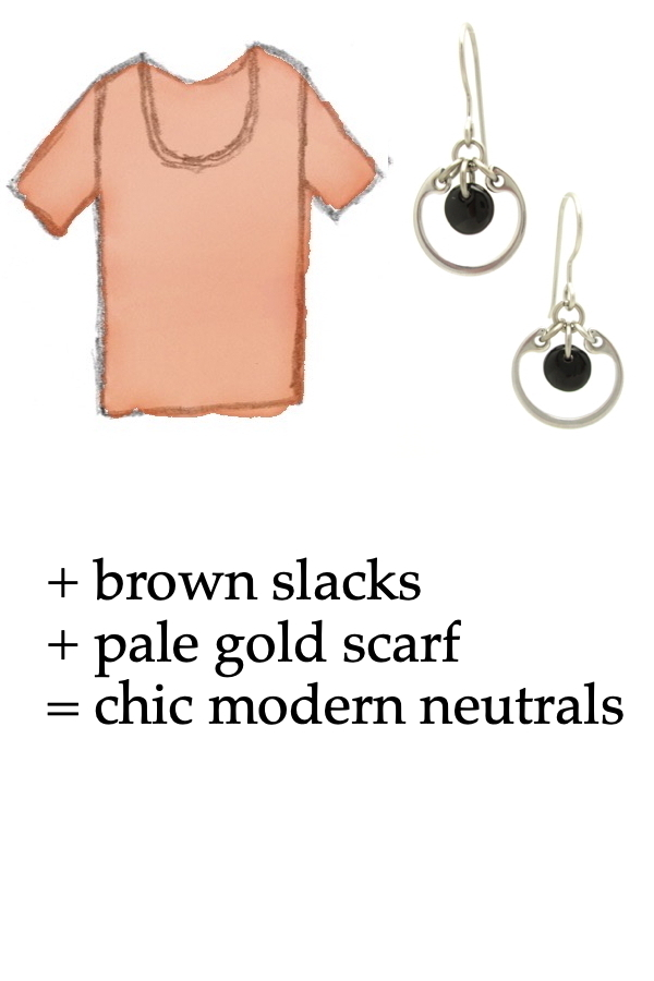 style sketch of a light orange tee shirt with Wraptillion's small modern circle silver-tone earrings in black; text on image reads: + brown slacks+ pale gold scarf = chic modern neutrals