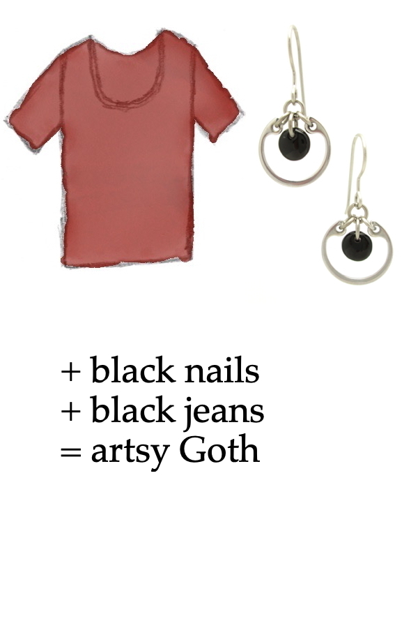 style sketch of a washed red tee shirt with Wraptillion's small modern circle silver-tone earrings in black; text on image reads: + black nails + black jeans = artsy Goth