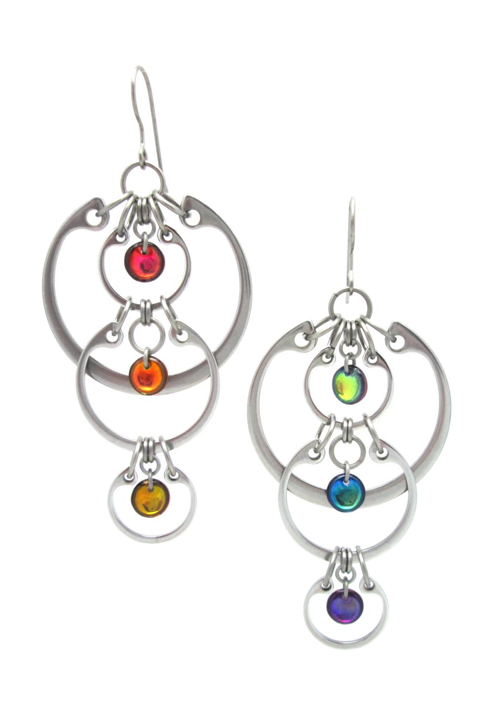 Photo of Wraptillion's modern linked circle Cascading Rainbow Earrings on a white background.