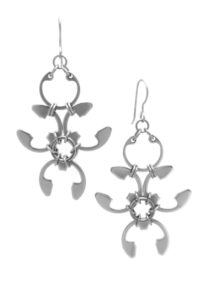 Garland Earrings by Wraptillion (modern botanical-inspired spiky abstract floral silver-tone chandelier earrings)
