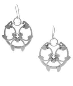Rose Window Earrings by Wraptillion (modern botanical-inspired silver-tone earrings)