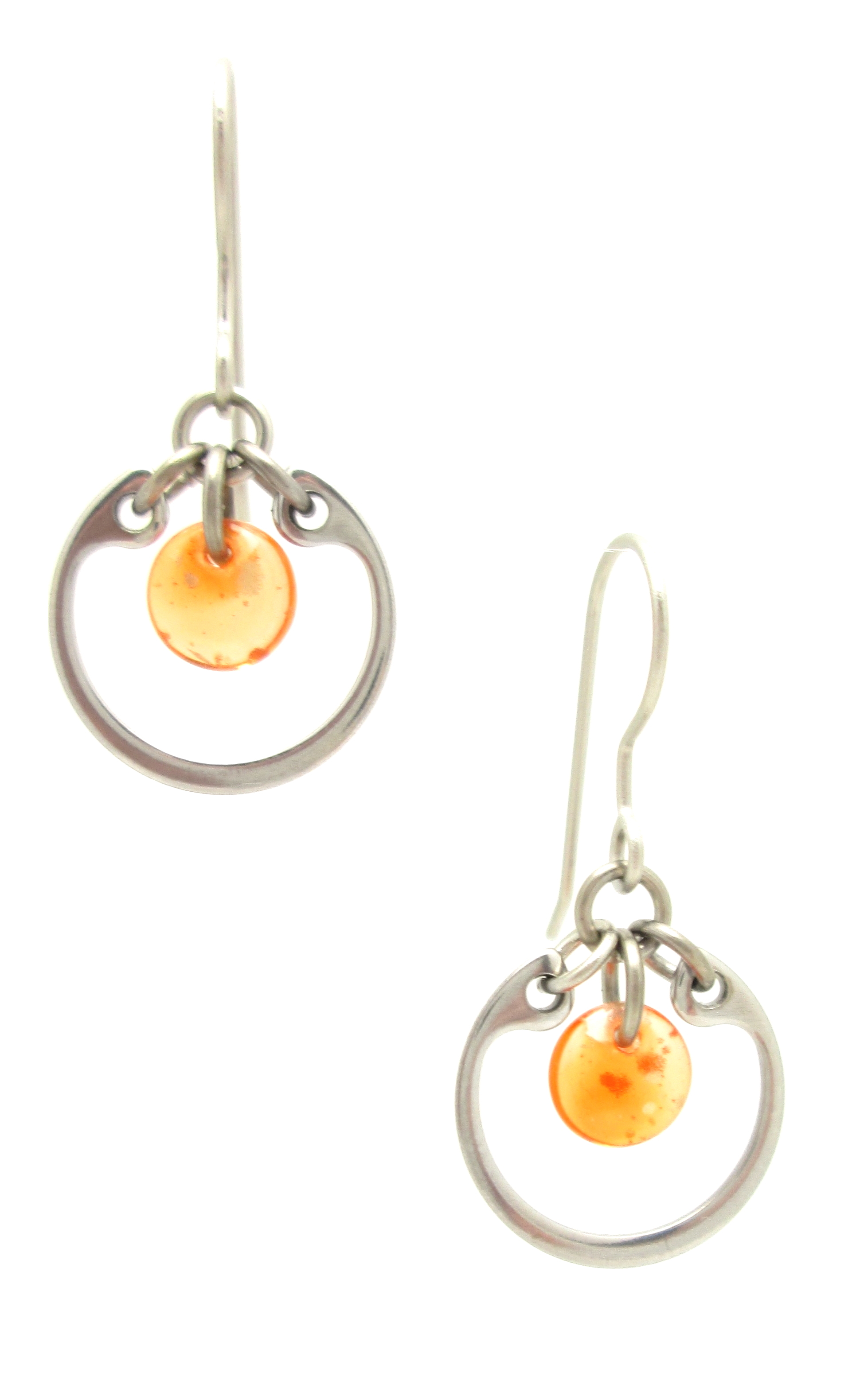 small modern circle earrings by Wraptillion in orange
