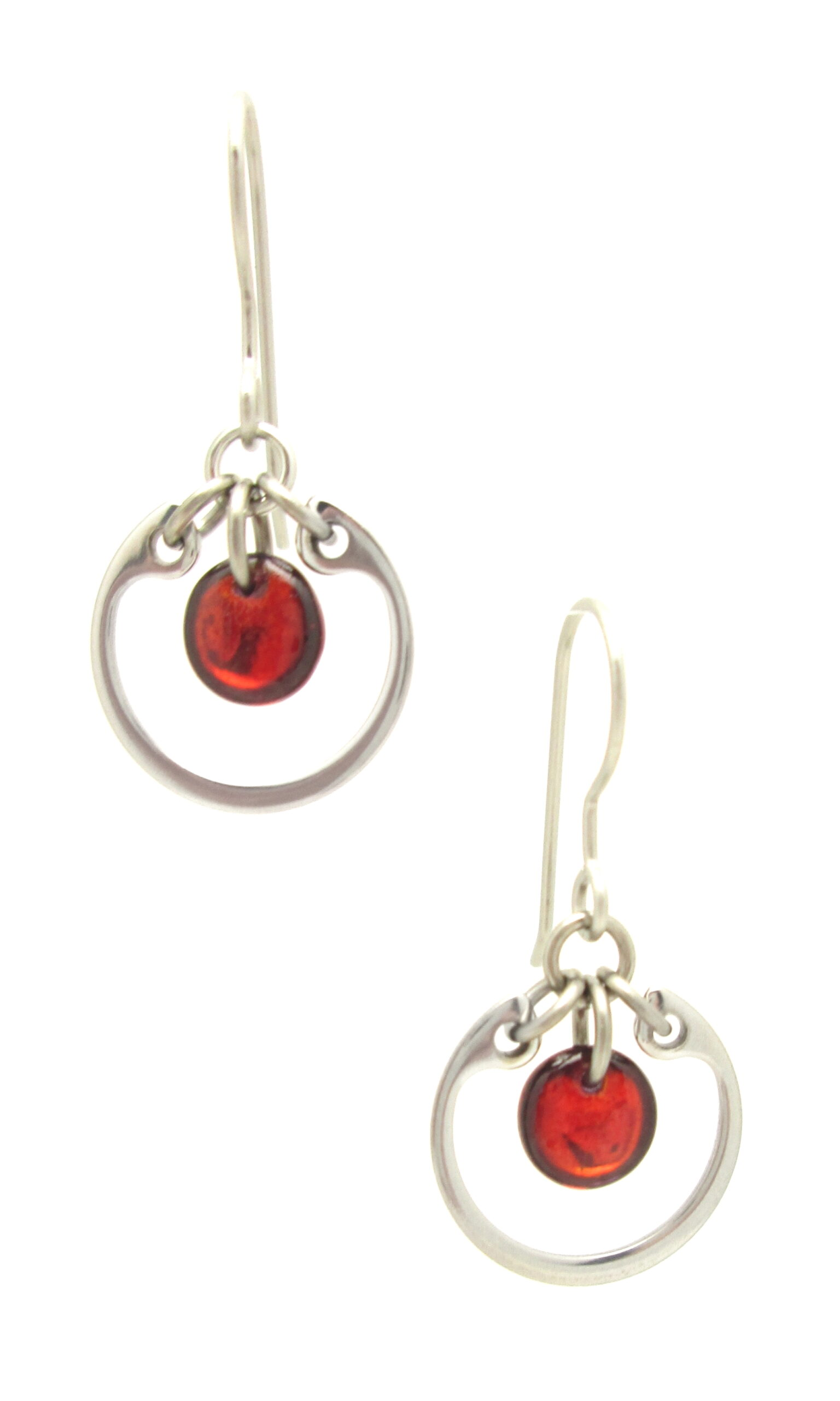 Wraptillion's Small Circle Earrings in red (small modern silver-tone dangle earrings)