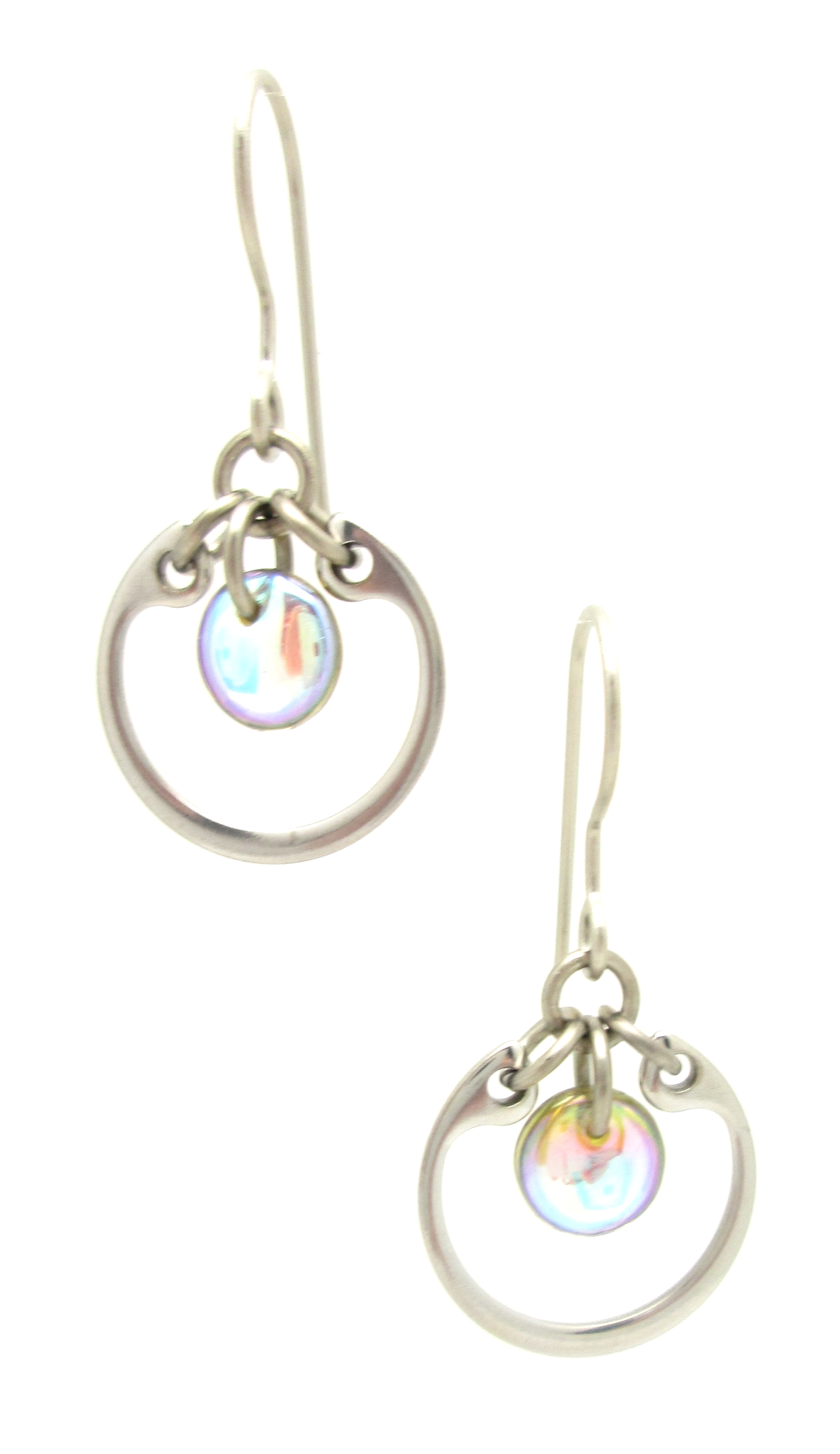 Wraptillion's silver-tone modern style small circle earrings in pale rainbow glass