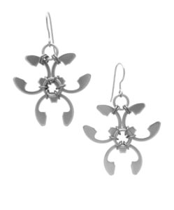 Trellis Earrings by Wraptillion (modern botanical-inspired spiky abstract floral silver-tone earrings)
